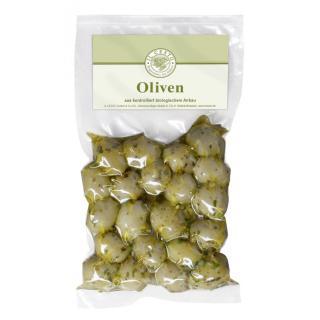 Oliven grün mariniert o.Stein